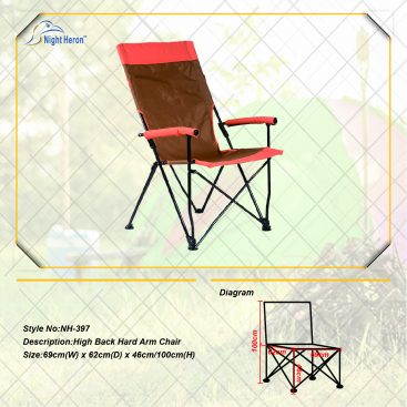 High Back Hard Arm Camping folding Chair